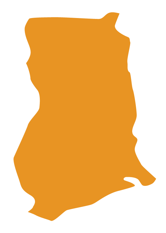 Map of Ghana with solid orange fill color