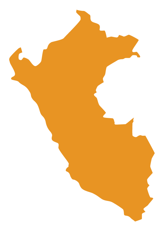 Map of Peru with solid orange fill color