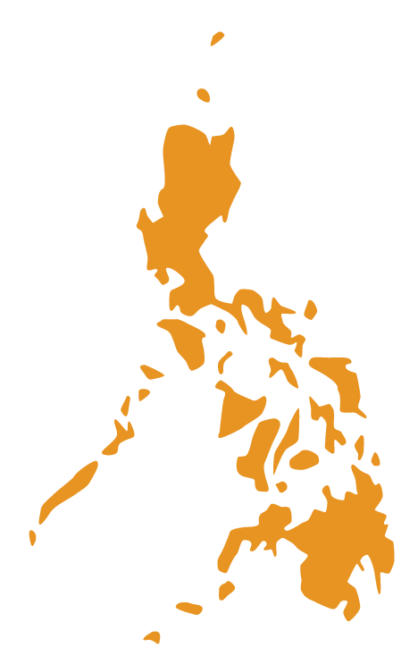 Map of the Philippines with solid orange fill color