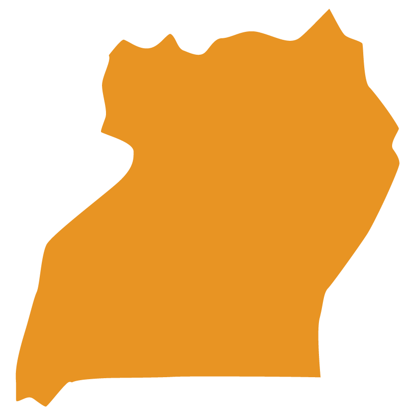 Map of Uganda with solid orange fill color