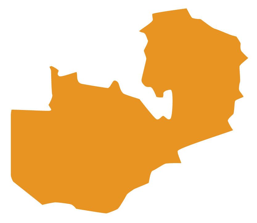 Map of Zambia with solid orange fill color