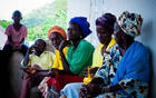 A rural community gathers in Sierra Leone