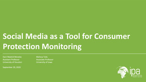 Social Media as a Tool for Consumer Protection Monitoring Webinar Title Slide