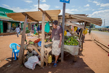 A woman tends to the market stall she owns in Kenya