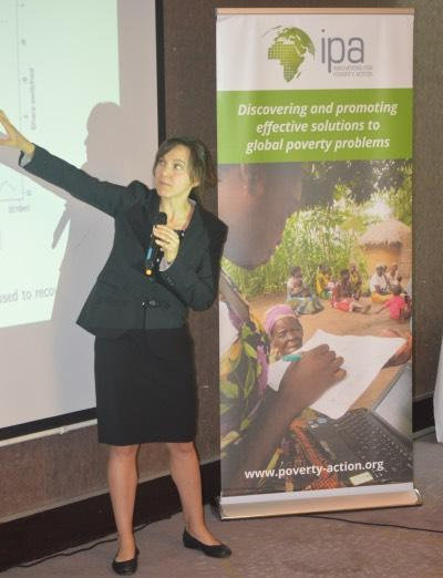 Kelsey Jack speaks at the Evidence for Policy event in Zambia