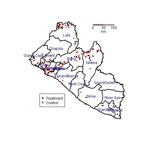 A map of schools in Liberia