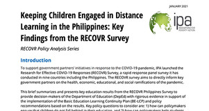 Thumbnail Image of Title Page of the Philippines RECOVR Survey Brief on Key Findings for Keeping Children Engaged in Distance Learning