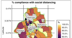Map from Dashboard Depicting Percent Compliance with Social Distancing