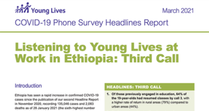Cover Image of Report PDF: COVID-19 Phone Survey Headlines Report: Listening to Young Lives at Work in Ethiopia: Third Call