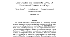 Thumbnail Image of First Page of Working Paper: Cash Transfers as a Response to COVID-19: Experimental Evidence from Kenya