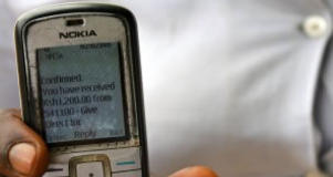 A mobile phone used to receive cash transfers in Kenya