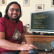 Mehrab Ali working at home during the COVID-19 pandemic.