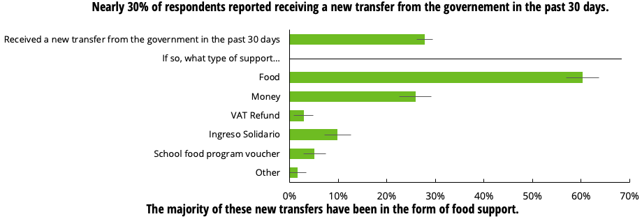 Nearly 30% of respondents reported receiving government transfers