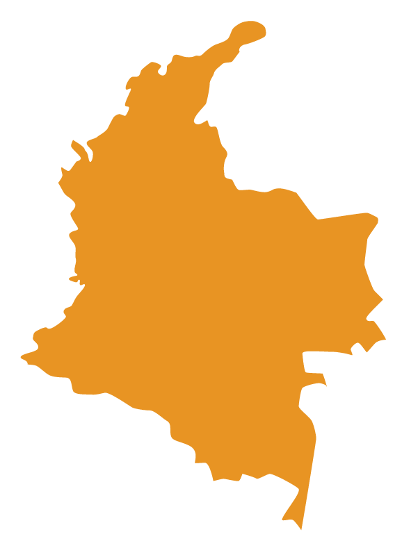 Map of Colombia in solid orange color with surrounding whitespace cropped out