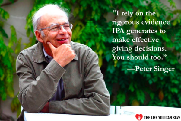 Peter Singer, of The Life You Can Save, endorses IPA